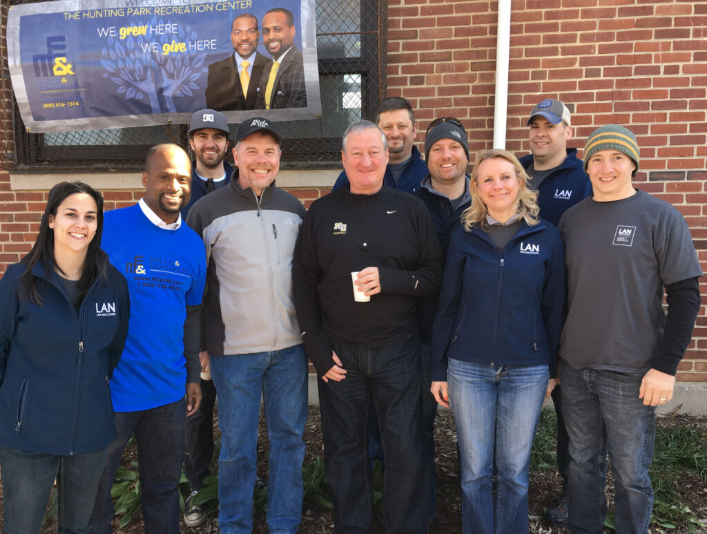 LAN team cleaning up parks in local Philadelphia community.