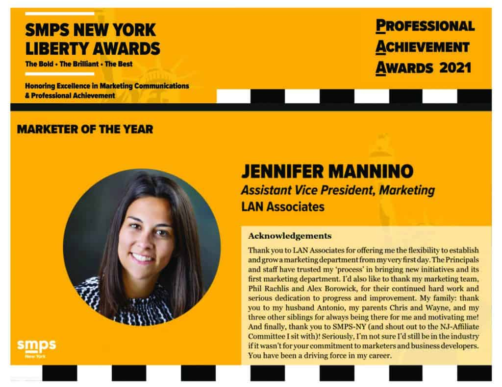 Jen Mannino Wins SMPS Marketer of the Year Award